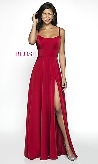 Long Sleeveless Scoop-Neck Formal Gown by Blush