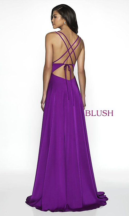 Image of long backless scoop-neck formal gown by Blush. Style: BL-C2095 Back Image