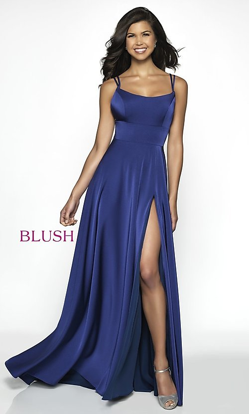 Image of long backless scoop-neck formal gown by Blush. Style: BL-C2095 Front Image