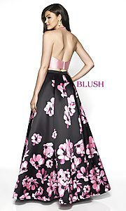 Image of two-piece pink floral-print long formal prom dress. Style: BL-C2102 Back Image