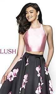 Image of two-piece pink floral-print long formal prom dress. Style: BL-C2102 Detail Image 1
