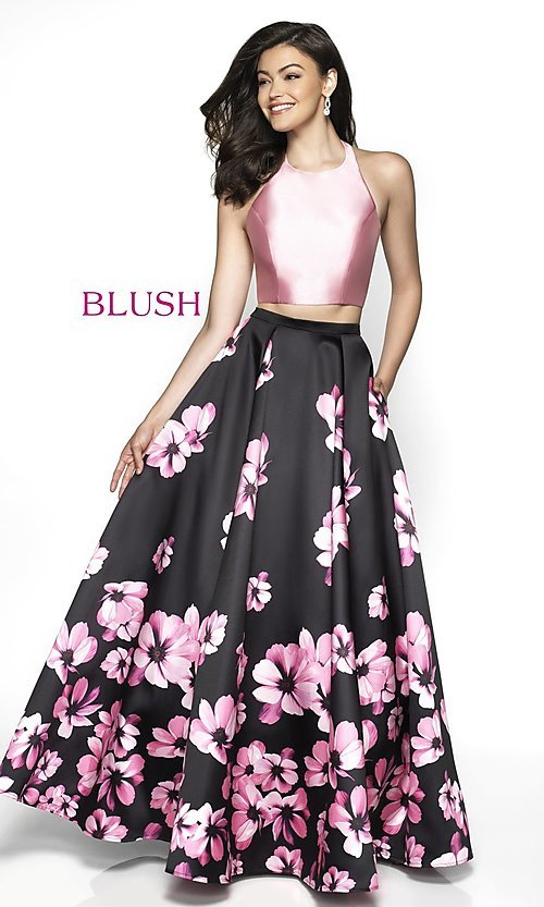 Image of two-piece pink floral-print long formal prom dress. Style: BL-C2102 Front Image