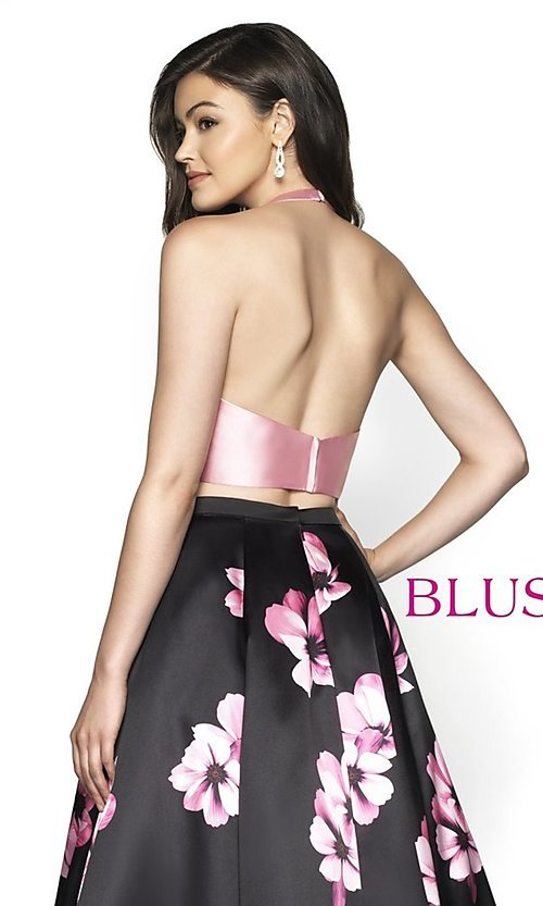 Image of two-piece pink floral-print long formal prom dress. Style: BL-C2102 Detail Image 2