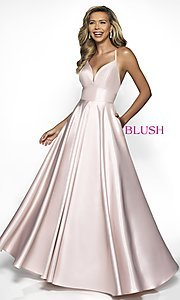 Image of long Blush open-back formal dress with pockets. Style: BL-C2009 Front Image