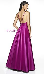 Image of long Blush open-back formal dress with pockets. Style: BL-C2009 Back Image