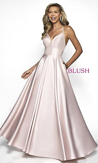 Long Shimmer Open-Back Formal Gown with Pockets