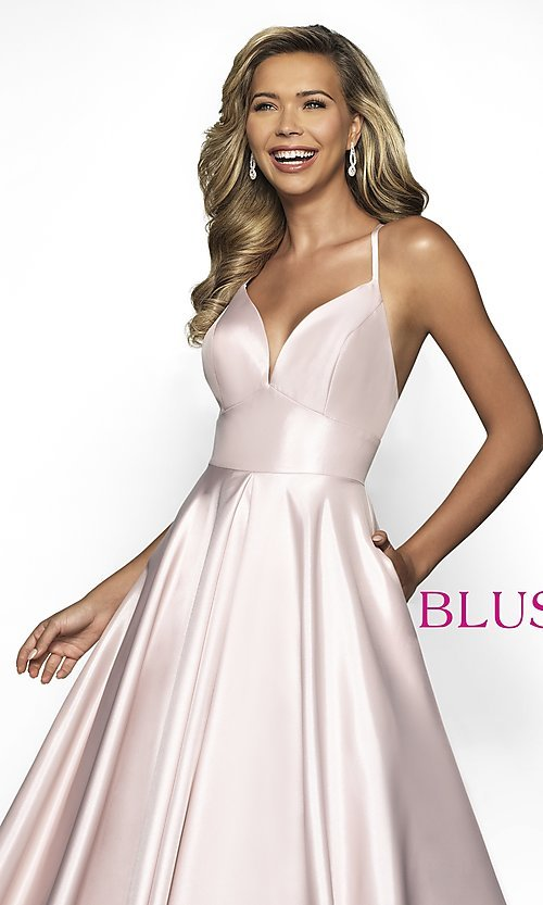 Image of long Blush open-back formal dress with pockets. Style: BL-C2009 Detail Image 1