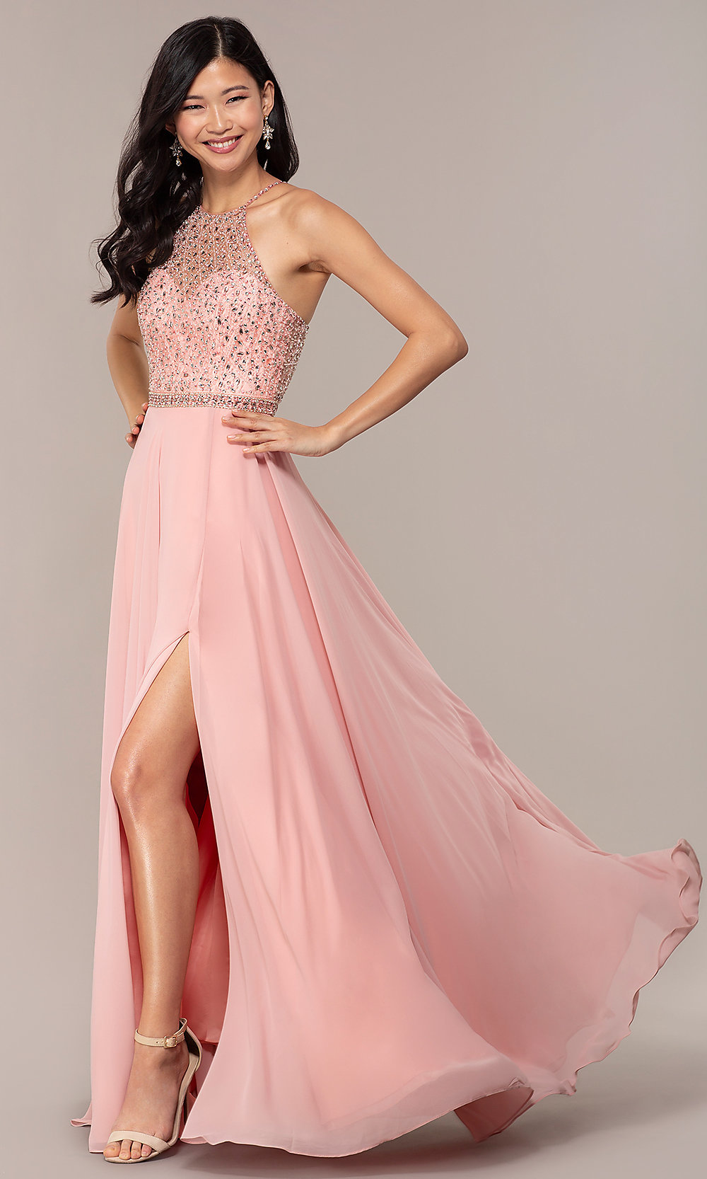 0c46f08d44b278 Long Blush Backless High-Neck Formal Gown with Slit