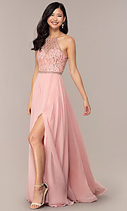 Image of long backless high-neck formal gown by Blush. Style: BL-11720 Front Image