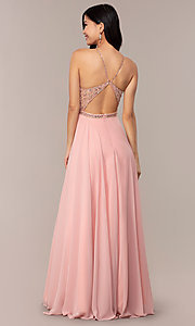 Image of long backless high-neck formal gown by Blush. Style: BL-11720 Back Image