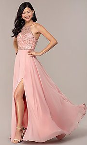 Image of long backless high-neck formal gown by Blush. Style: BL-11720 Detail Image 3