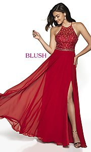Image of long backless high-neck formal gown by Blush. Style: BL-11720 Detail Image 6
