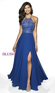 Image of long backless high-neck formal gown by Blush. Style: BL-11720 Detail Image 4