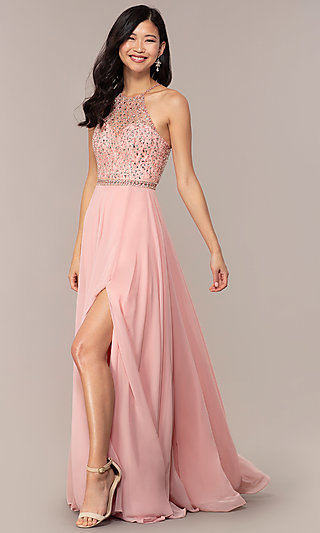 Long Backless High-Neck Formal Gown by Blush