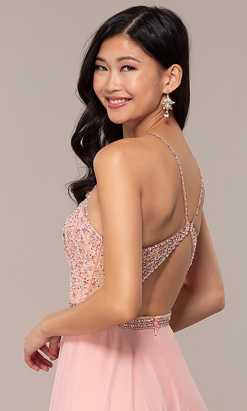Image of long backless high-neck formal gown by Blush. Style: BL-11720 Detail Image 2