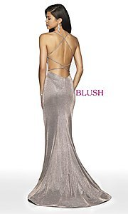 Image of backless long shimmer formal dress by Blush. Style: BL-11726 Back Image