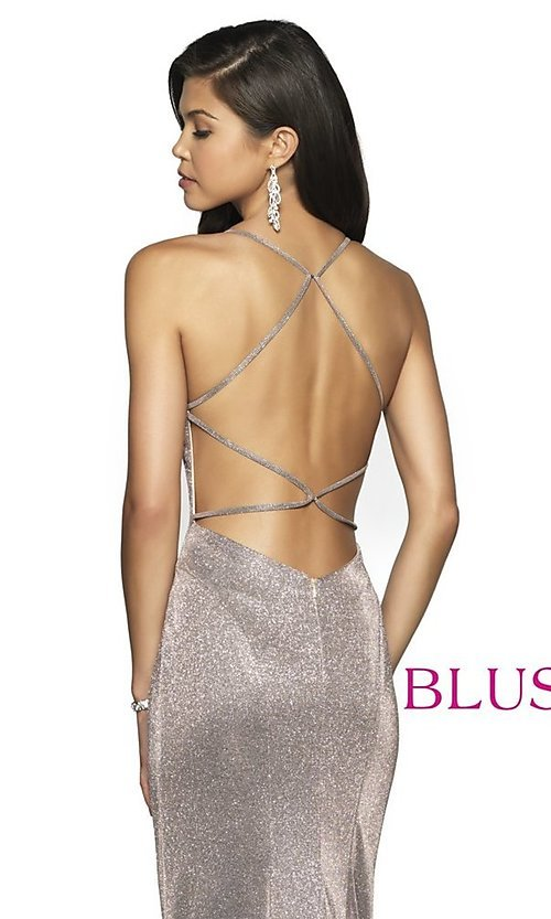 Image of backless long shimmer formal dress by Blush. Style: BL-11726 Detail Image 2