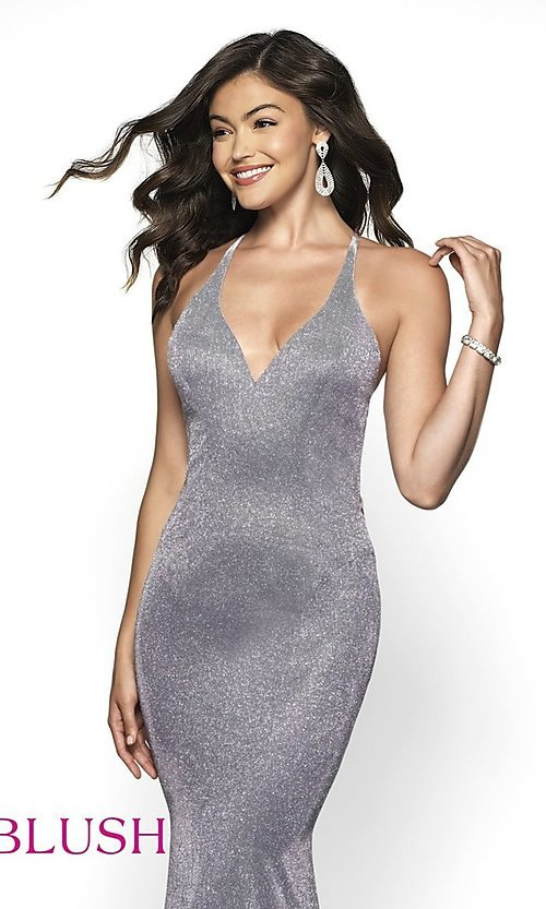 Image of backless long shimmer formal dress by Blush. Style: BL-11726 Detail Image 4