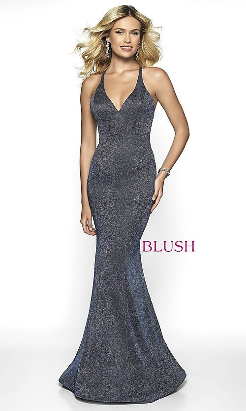 Image of backless long shimmer formal dress by Blush. Style: BL-11726 Detail Image 5