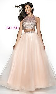 Image of long two-piece formal prom ball gown. Style: BL-11746 Front Image