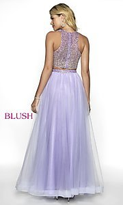 Image of long two-piece formal prom ball gown. Style: BL-11746 Back Image
