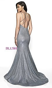 Image of shimmer v-neck trumpet long formal dress by Blush. Style: BL-11761 Back Image