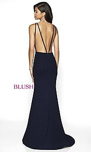 Image of long glitter plunging-v-neck formal gown by Blush. Style: BL-11766 Back Image