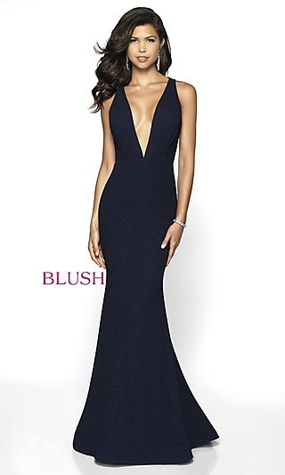 Long Glitter Plunging-V-Neck Formal Gown by Blush