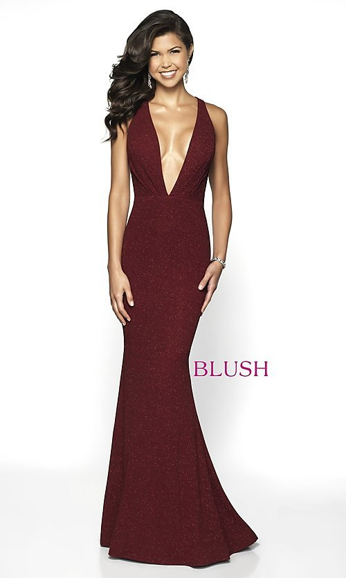 Image of long glitter plunging-v-neck formal gown by Blush. Style: BL-11766 Detail Image 3
