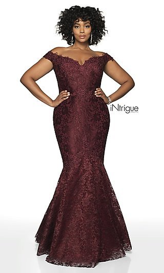 Long Mermaid-Style Plus-Size Women's Formal Gown