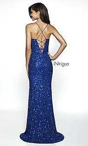 Image of iNtrigue by Blush sequin royal formal prom dress. Style: BL-IN-507 Back Image