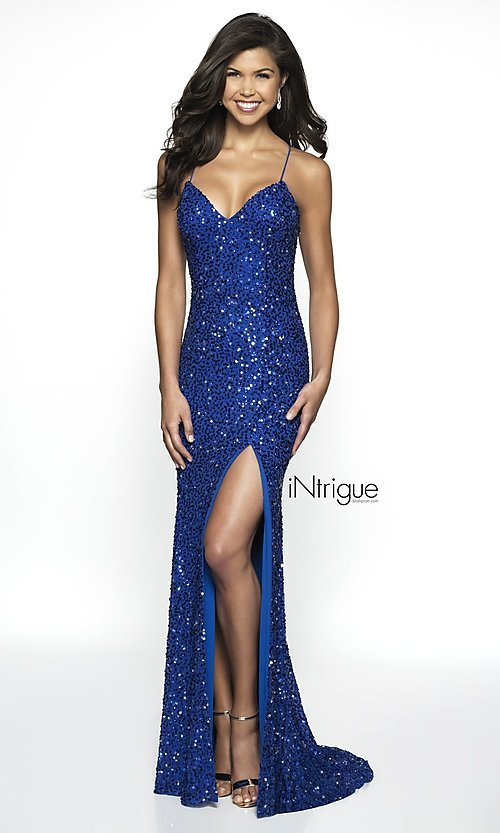 Image of iNtrigue by Blush sequin royal formal prom dress. Style: BL-IN-507 Front Image