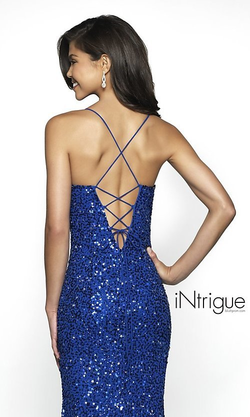 Image of iNtrigue by Blush sequin royal formal prom dress. Style: BL-IN-507 Detail Image 2