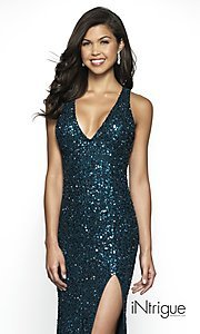 Image of iNtrigue by Blush long sequin formal prom dress. Style: BL-IN-513 Detail Image 1