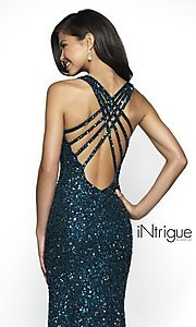 Image of iNtrigue by Blush long sequin formal prom dress. Style: BL-IN-513 Detail Image 2