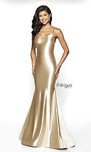 Image of long open-back mermaid formal gown with train. Style: BL-IN-526 Front Image