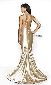 Image of long open-back mermaid formal gown with train. Style: BL-IN-526 Back Image