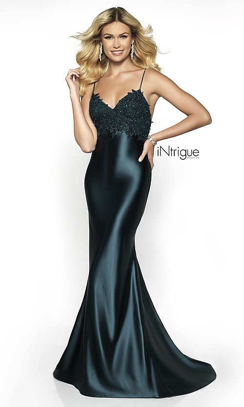 Image of embroidered-bodice long formal dress with train. Style: BL-IN-529 Detail Image 3