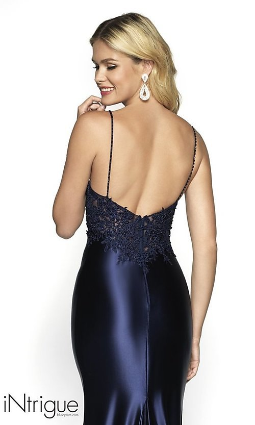 Image of embroidered-bodice long formal dress with train. Style: BL-IN-529 Detail Image 2