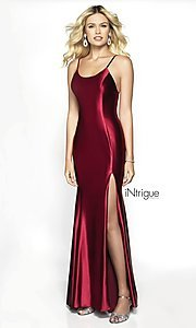 Image of iNtrigue by Blush berry red long formal prom dress. Style: BL-IN-537 Front Image