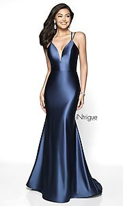 Image of corset-back iNtrigue by Blush long formal dress. Style: BL-IN-540 Detail Image 3