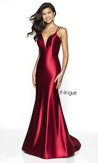 Long Satin V-Neck Formal Gown with a Train