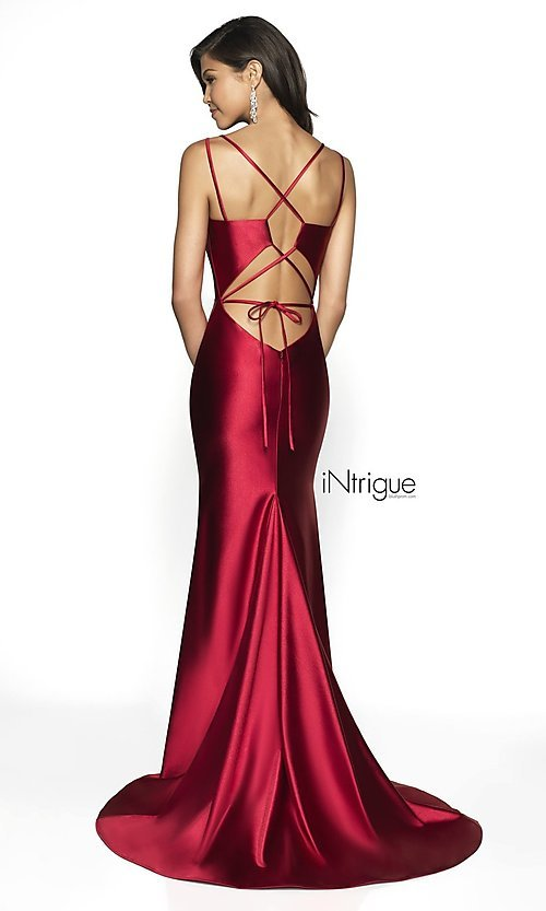 Image of corset-back iNtrigue by Blush long formal dress. Style: BL-IN-540 Back Image