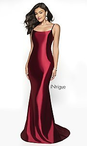 Image of long v-back formal gown from iNtrigue by Blush. Style: BL-IN-545 Front Image