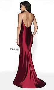 Image of long v-back formal gown from iNtrigue by Blush. Style: BL-IN-545 Back Image
