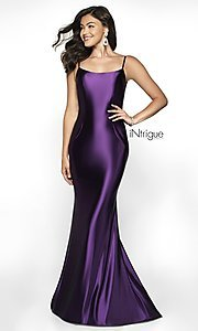 Image of long v-back formal gown from iNtrigue by Blush. Style: BL-IN-545 Detail Image 3
