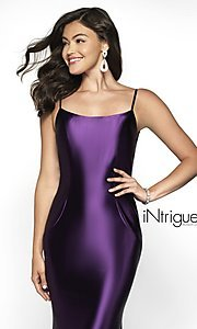Image of long v-back formal gown from iNtrigue by Blush. Style: BL-IN-545 Detail Image 4