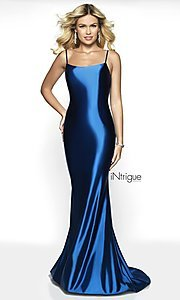 Image of long v-back formal gown from iNtrigue by Blush. Style: BL-IN-545 Detail Image 5