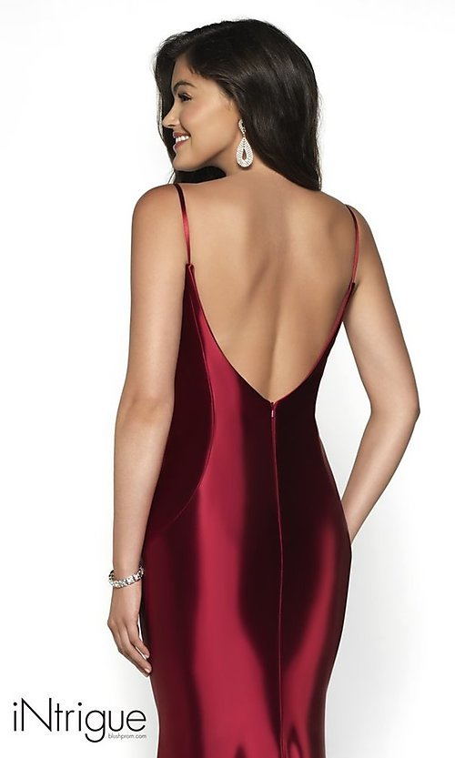Image of long v-back formal gown from iNtrigue by Blush. Style: BL-IN-545 Detail Image 2
