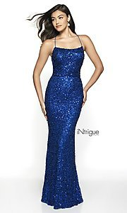 Image of backless royal blue long sequin formal prom gown. Style: BL-IN-551 Front Image